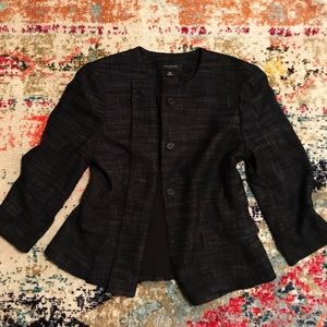 Ann Taylor 10P Black Stretch Button Blazer Jacket